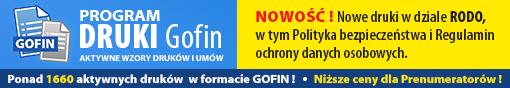 DRUKI Gofin - Nowość: nowe druki w dziale RODO, w tym Polityka bezpieczeństwa i Regulamin ochrony danych osobowych !