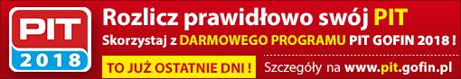 Rozlicz prawidłowo swój PIT. Skorzystaj z DARMOWEGO PROGRAMU PIT GOFIN 2018 ! TO JUŻ OSTATNIE DNI ! Szczegóły na www.pit.gofin.pl