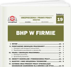 BHP w firmie - dodatek tematyczny nr 19 do Ubezpieczeń i Prawa Pracy nr 20 (470) z dnia 10.10.2018