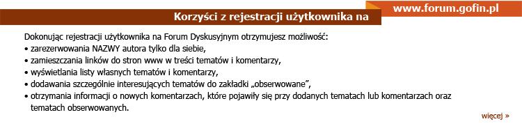 www.forum.gofin.pl - Korzyści z rejestracji użytkownika